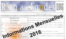 Bulletins d'informations mensuels 2016